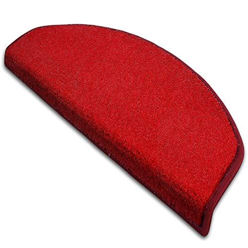 casa pura Stufenmatte Dynasty Velours | Halbrund oder eckig | In 7 Farben (Stufenmatte halbrund 15 Stück, Rot)