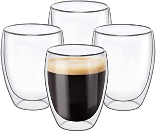 Glass Coffee Mugs 350ML /12OZ - Set of 4, Double Wall Insulated Thermal Cups Drinking Glasses For Tea/Coffee/Latte/Cappuci...