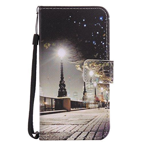 ISAKEN Compatibile con Samsung Galaxy Grand Prime G530 Cover, Libro Portafoglio Custodia PU Cuoio Leather Cover Flip Rigida Wallet Copertina con Funzione di Supporto - Leggero Strada