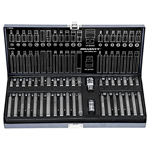 XZN - Set di 40 chiavi a bussola esagonali Torx, Torx: T20 T25 T30 T40 T45 T50 T55 I XZN: M5 M6 M8...