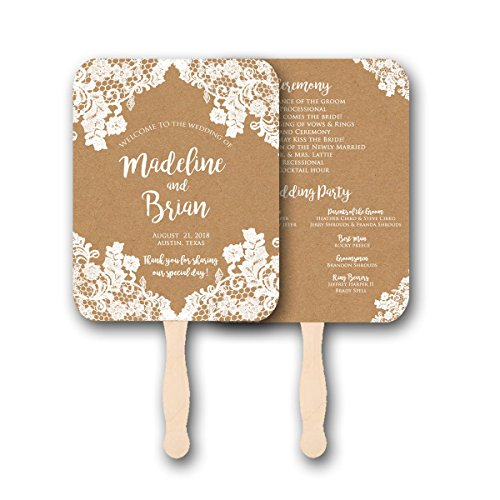 Personalized Wedding fans/Wedding program fans/Wedding favors/Rustic Wedding/Kraft and Lace, Set of 10