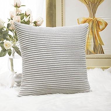 HOME BRILLIANT Striped Soft Velvet Corduroy European Throw Pillow Sham with Hide Zipper, Only Cover, 26 inch(66x66cm), Light Grey