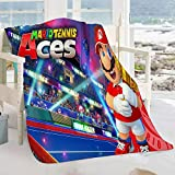 FOCLKEDS Mario Tennis aces Warm Blanket Mario Tennis aces Movie Characters Lightweight Super Soft Blanket Improving Sleep for Adults and Children 60'x50'