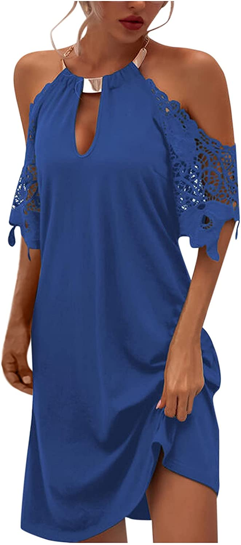 Womens Summer Dresses,Women Bohemian Dresses Sleeveless Halter Neck Boho Mini Dress Casual Vintage Beach Sundress