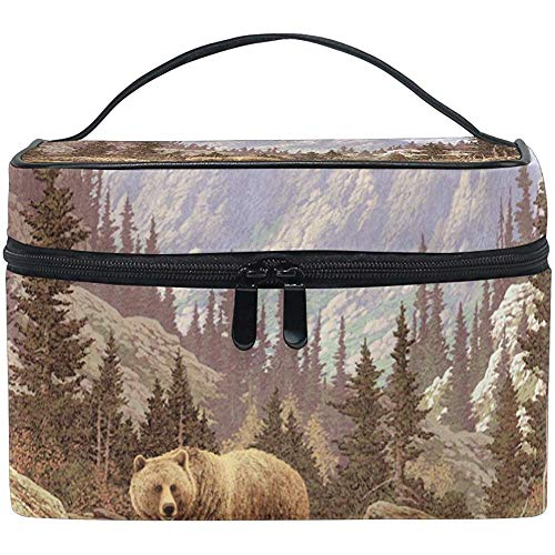 Grizzly Bear In The Rockies Cosmetic Bag Travel Makeup Train Cases Storage Organizer