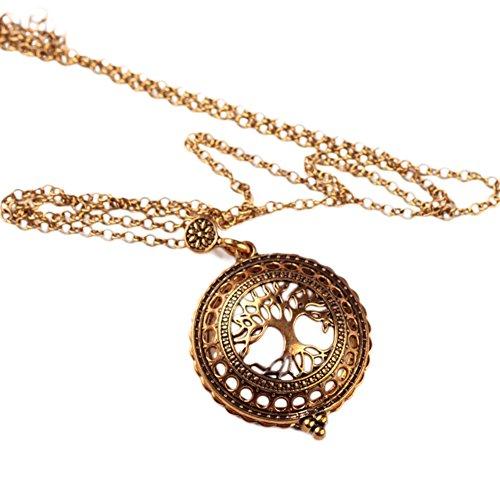 Alta calidad vintage lupa colgante collar árbol vida bolsillo reloj tiempo collar collier