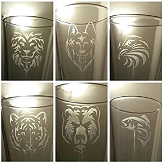 Wildlife Collection Beer Glasses, Etched Pint Glass