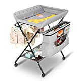 JOYMOR Mobile Baby Changing Table with Wheels, Folding Infant Diaper Table, Diaper Changing Station with Large Storage Basket & Shelf Portable Nursery Organizer (Grey)