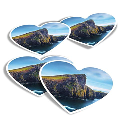 Vinyl Heart Stickers (Set of 4) - Neist Point Isle of Skye Scotland Fun Decals for Laptops,Tablets,Luggage,Scrap Booking,Fridges #16384