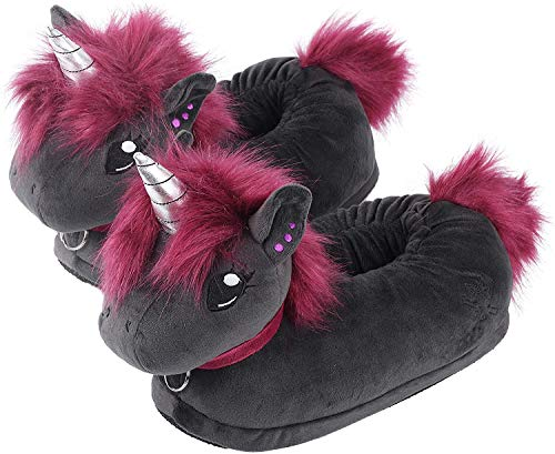 corimori 1847 - (Plusieurs Modèles) Licorne Punk Ruby Chaussons avec Tête d'animal, Pantoufles Mignonnes en Peluche Polaire , Noir Rose Taille Unique 34-44