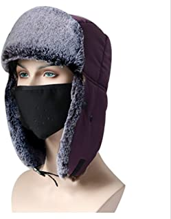 Hat Fashion Ski Hat with Face Mask Pure Color Warm and Thick Windproof Unisex Face Shield for Winter Outdoors Cycling Motorcycle Snowboarding Hiking Fashion Accessories (Color : Purple)