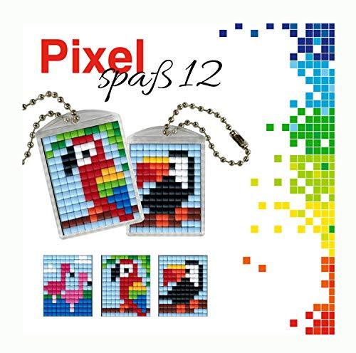 Pracht Creatives Hobby P90051-00505 - Pixel Spaß Bastelset 12, für 2 Medaillons, Schlüsselanhänger, für Kinder, Jungen und Mädchen, als kleines Geschenk, Mitgebsel, für den Kindergeburtstag