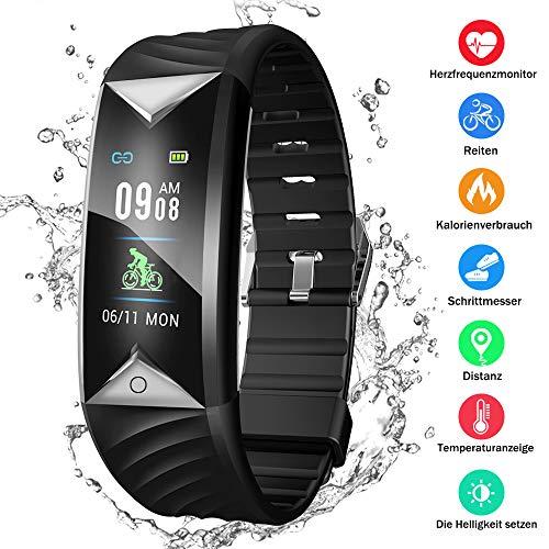 Kombel Fitness Trackers Fitness Armband mit Pulsmesser Wasserdicht IP68 Fitness Tracker Aktivitätstracker Schrittzähler Uhr mit Trainingsmodi Vibrationsalarm Anruf SMS Beachten mit iOS Android Handy