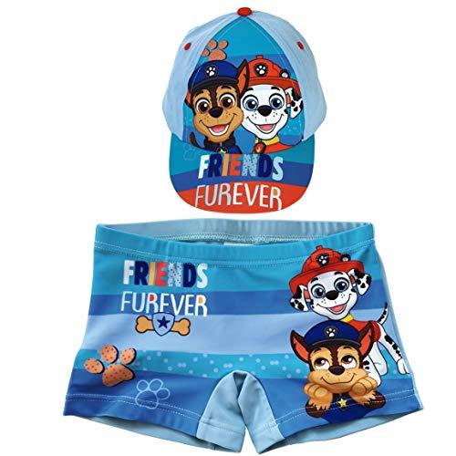 Bañador Patrulla Canina Tipo Bóxer para Playa o Piscina + Gorra Paw Patrol para niños...