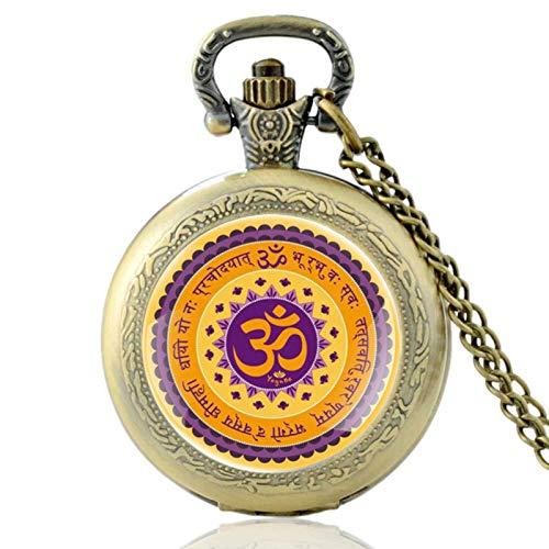 ZDANG Reloj de Bolsillo de Cuarzo clásico con diseño de símbolo de hinduismo Vintage, Reloj de Horas Colgante único para Hombres y Mujeres,un Regalo para niños