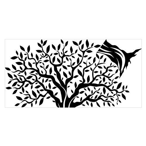 Bilderwelten Wandtattoo Aufkleber Olivenbaum mit Blättern, Einfarbig Aubergine, 110 x 220cm