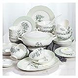 FAQUAN - Set di piatti piani in ceramica, 30 pezzi per la casa in porcellana, set creativo di piatti e ciotole a forma di loto