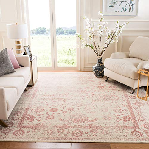Safavieh Adirondack Collection ADR109H Ivory/Rose Vintage Oriental Distressed Area Rug 8' x 10'