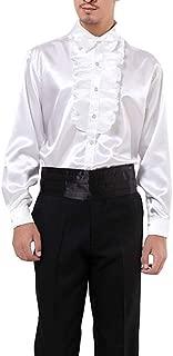 Men Shirts Victorian Tuxedo Satin Long Sleeve Ruffle Stand-up Collar Blouses