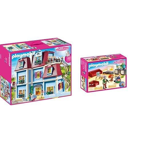 PLAYMOBIL Dollhouse 70205 Mein Großes Puppenhaus, Mit funktionsfähiger Türklingel, Ab 4 Jahren & Dollhouse 70207 Gemütliches Wohnzimmer, mit Lichteffekt, ab 4 Jahren