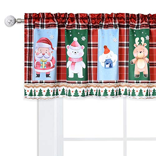 DUALIFE Red and Green Buffalo Plaid Valance for Chidren Kids,Elk Snowman Polar Bear Father Christmas Valance Curtain Window Toppers Valance for New Year Decor Kitchen Bathroom Rod Pocket 52x18 Inches