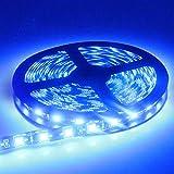 EverBright Blue Led Strip Lights, Waterproof Flexible Led Strip Lights, PCB Black 16.4Ft 5050 300Leds Led Neon Lights for Home Kitchen Bedroom Party Holiday Stage Decoration Led Tape Light