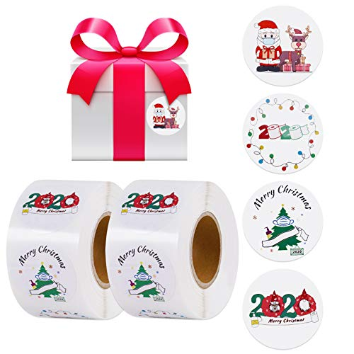 1000pcs Merry Christmas Labels Stickers GIGIK 1.5 Inch 2 Tag Rolls 4 Designs Round Christmas Santa Claus Tags, Xmas Decors, Seals Stickers for Gifts, Boxes, Envelopes, Cards (38mm/1.5inch)