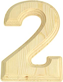 Homeford Pine Wood Beveled Wooden Number 2, Natural, 6-Inch