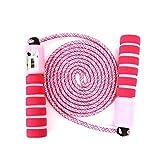 JOJOR Cuerda para Saltar Ajustable para Niños y Adultos Cuerda de con Mangos Cómodos y Contador (Rosa)
