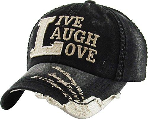 KBVT-649 BLK Live Laugh Love Vintage Distressed Baseball Cap Adjustable Unconstructed Dad Hat