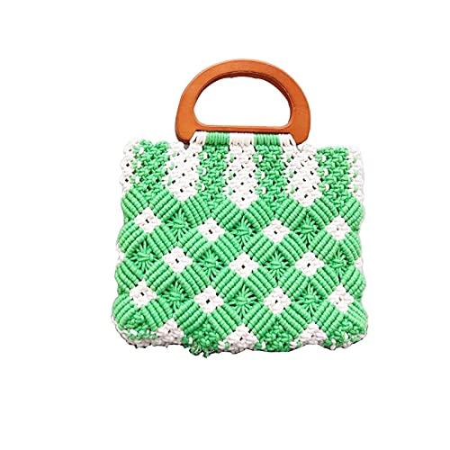 Bolso de algodón con forma de diamante de verano portátil de verano Puro bolso de playa tejido de la playa de la bolsa de la bolsa de cruz (Color : Green)