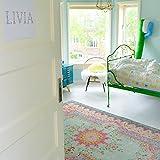 Rozenkelim Vintage Teppich   Shabby Chic Look Teppichläufer für Wohnzimmer, Schlafzimmer und Flur   70% Polypropylen, 30% Baumwolle (Pastell, 225cm x 155cm, 8 mm hoch) - 6