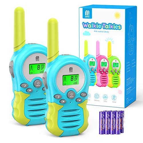 Walkie Talkie PMR446 8 Canales Función VOX Rango de 3KM 10 Tonos de Llamada con LCD Retroiluminada Walky Talky con Pilas, para Actividades Externas, Camping (Azul)