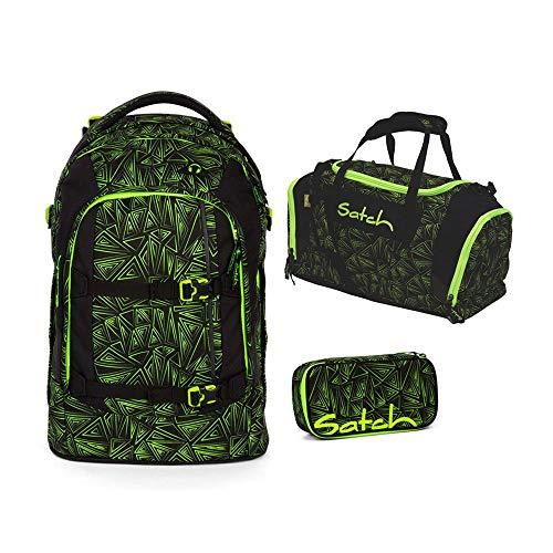 Satch Pack Schulrucksack-Set 3tlg: Schulrucksack, Schlamperbox und Sporttasche (Green Bermuda)