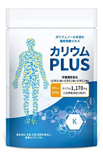 カリウムPLUS 塩化カリウム 栄養機能食品 1,170mg ミネラル (ビタミンB1 B2 B6 B12 E) サプリ 300粒