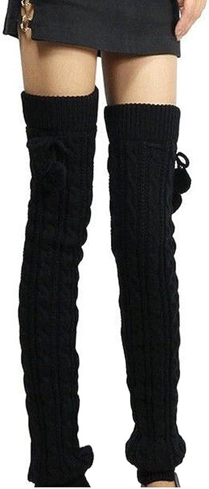 ieasysexy Women Ladies Winter Fashion Leg Warmers Stocking Knit Thick Long Socks Lady Knit Crochet Legging Best Xmas Gift