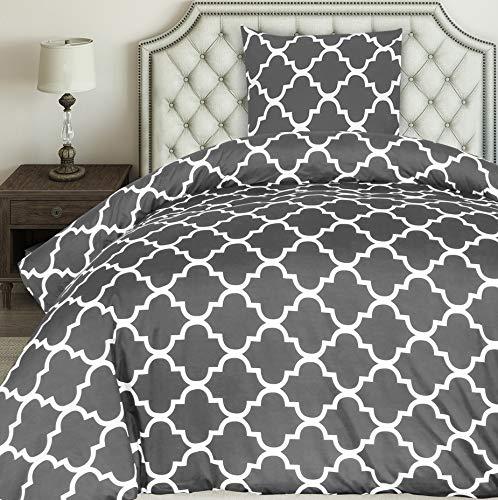 Utopia Bedding Bettwäsche-Set - Mikrofaser Bettbezug 135x200 cm und 1 Kopfkissenbezug 80x80 cm - Grau Bettbezüge Set mit Reißverschluss - Gittermuster