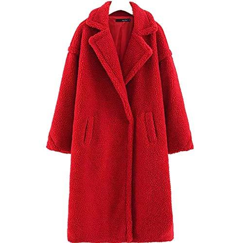 YunYoud Cappotto di Pelliccia di Agnello delle Donne - Cappotto Caldo di Spessore Invernale Cappotto di Bavero di Agnello di Cashmere di Colore Solido Comodo Caldo (M, Rosso)