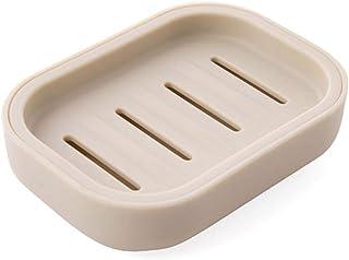 Exquisite soap Box Soap Dish Holder/Soap Savers DishDouble-Layered lid soap Box Bathroom soap Box Creative Travel Portable soap-Based Fertilizer soap Rack, Green (Color : Khaki)