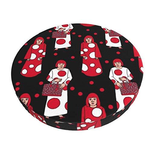 Funda de Asiento para Silla Yayoi Kusama Red and White Dots Mujer Negro Material Ploiéster Duradero Fundas Decorativas para sillas de Comedor 13in