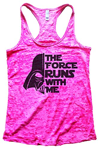"""Funny Threadz Women's Darth Vader Burnout """"The Force Runs with Me Star Wars Tank, Shocking Pink, Small"""