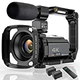 Video Camera 4K Camcorder Ultra HD 48MP WiFi IR Night Vision Vlogging Camera 3' IPS Touch Screen 16X Digital Zoom Digital YouTube Camera Recorder with Microphone,Stabilizer,Hood,Remote
