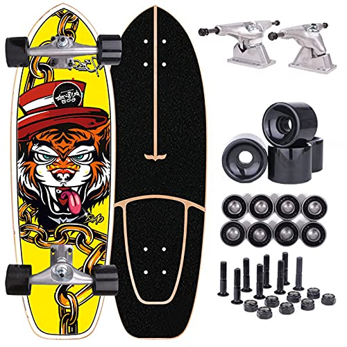 TTYY Surfskate CX Carver Skateboard Cruiser Complete Board for Beginners and Adults Pumping Fancy Board 75×23cm Maple Wood Deck with ABEC-9 Bearings
