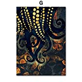 xinyouzhihi Impresión de póster de Pintura de Lienzo de Pulpo Abstracto Imagen Impresa en Lienzo Arte de Pared para Decoraciones de Oficina en casa 40x50cm Sin Marco