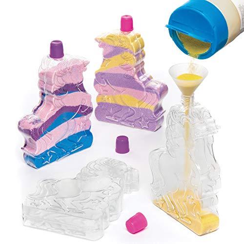 Baker Ross Botellas en forma de unicornio para decorar con arena - Juego de manualidades (pack de 4)