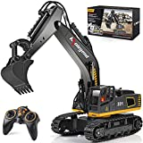 kolegend Remote Control Excavator Toy Truck, 1/18 Scale 9 Channel RC Excavator Construction Vehicles for Boys Girls Kids RC Tractor with Lights Rechargeable Battery