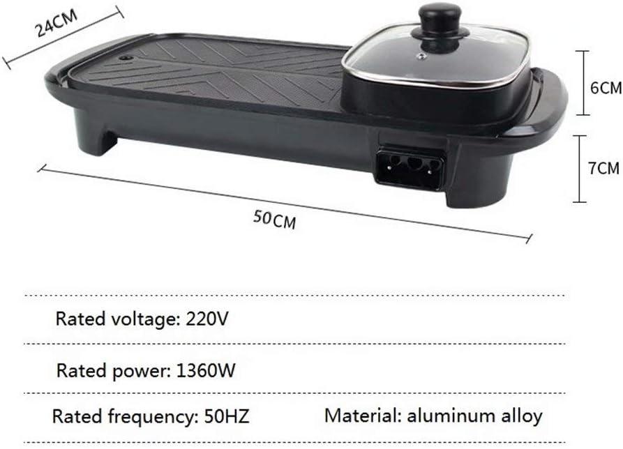 CUIJU Gril Électrique Portable 2 en 1 Gril De Friture pour Barbecue À Casserole Électrique avec 5 Réglages De Température pour Intérieur Extérieur, Noir Noir