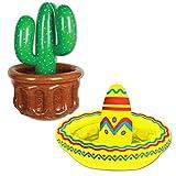 Inflatable Sombrero & Cactus Cooler 2 Piece Bundle