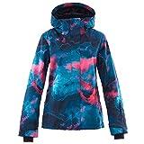 Women's Waterproof Ski Jacket Colorful Snowboard Coat Printed Ski Bib Suit(M)