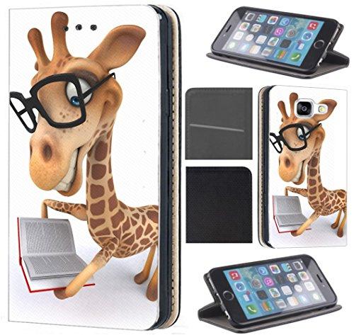 Samsung Galaxy Xcover 3 Hülle von CoverHeld Premium Flipcover Schutzhülle Xcover 3 aus Kunstleder Flip Case Motiv (1489 Giraffe Animiert mit Brille und Buch)